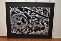 Black and white close-up of a motor matted print for sale, 16x20 mat, $50.00+S/H