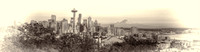09-2015, Seattle Washington Cityscape, Space Needle, From Kerry Park, effect