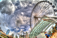09-2015, Seattle Cityscape, Seattle Washington, Seattle Great Wheel, HDR photography, 4211