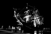 El Galeon, Nao Victoria, black and white photography, Ships docked at St Augustine Port, Florida, 04-29-2014, 6325, Emmele Photography