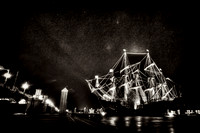 El Galeon, Nao Victoria, dark sephia tone, Ships docked at St Augustine Port, Florida, 04-29-2014, 6339, Emmele Photography