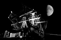El Galeon, Nao Victoria, black and white, moon photography, Ships docked at St Augustine Port, Florida, 04-29-2014, 6920, Emmele Photography