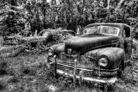 Field of Old Rusty Cars in black and white, Crawfordville, Wakulla county, route 319, 05-02-2014, 5264, Automotive Photography