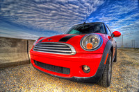 235, Red Mini Cooper by the water, Automotive Photography