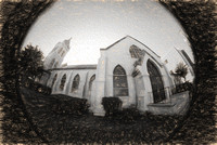 7, Church in Pensacola Florida, Pencil drawing effect, Digital Composition