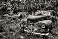 Field of Old Rusty Cars in sephia tone, Crawfordville, Wakulla county, route 319, 05-02-2014, 5264, Automotive Photography